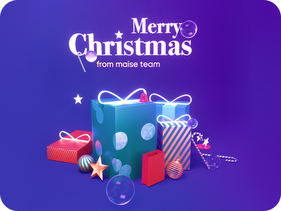Christmas Is Here! candy stars bauble lights snow octane cinema4d boxes presents 3d maise christmas marry happy