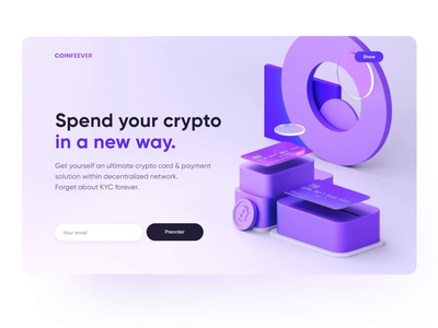 Crypto 3D Landing Page invest design web mobile spend mastercard visa pay credit coin crypto payments finance fintech motion illustration 3d payment card bank