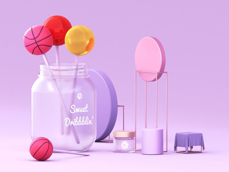 Sweet Dribbblin' illustration candy frame cloth basketball ball dribbble design jar maise blender render 3d lolipop popsicle sweet