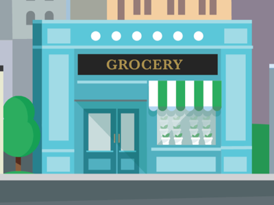 Shops in the city tree flat vector illustration shops grocery fresh green city boat feed eco