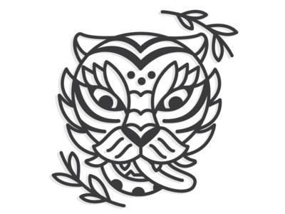 Traditional Korean Tiger illustration wild cat icon line lineart traditional tattoo tiger korean korea
