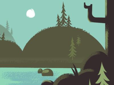 Bigfoot in the woods! texture hills pine waterfall river camping design illustration vector woods bigfoot sasquatch
