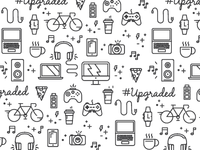 Tech Icons millenial upgrade icons pattern line vector tech