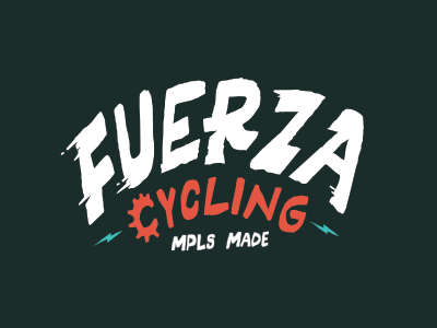 Fuerza Cycling logo design tough rock fast minnesota bikes minneapolis punk lightning bolt logo fuerza