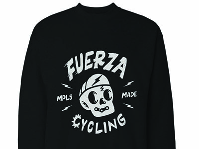 Fuerza Cycling crewneck design bikechain bike lightning flat vector design illustration icon punk cute skull