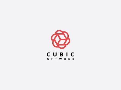 Cubic Network Logo flat branding clean icon network cube logo