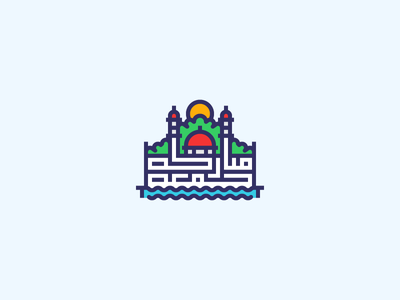 Jumma Mubarak geometric artwork minimalism sunrise mosque arabic typography water trees sun illustration icon outline