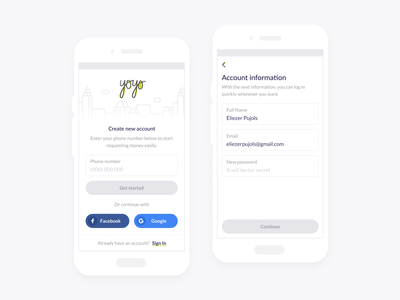 Yoyo App - Create Account & Sign In create account sign in login money transfer money app money clean design