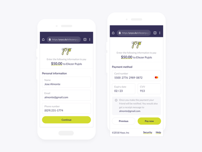 Yoyo App - Payment Form mobile payment app payment payment form form money transfer money simple design