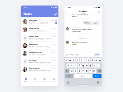 👇 Get Hola app call contact list conversation chat ui simple clean design