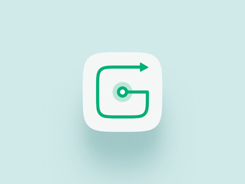 GumGum - App Icon mobile app app icon icon app routes route map driving car simple clean ui vector logo design