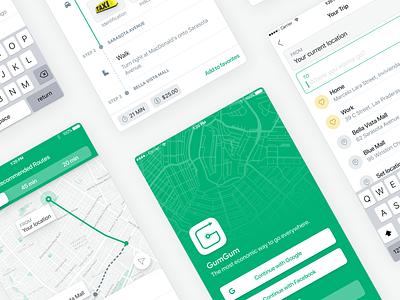 GumGum - Public Transport Made Easier mobile ui app mobile design driving services driver app driverless car travel routes public transport public transit map driver