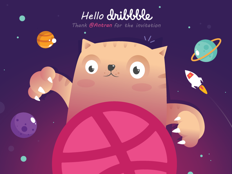 Hello Dribbble happy wellcome violet pink rocket cat color ai vector dribbble hello