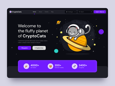 Crypto Game Landing Page Concept dark theme game crypto landing page web ui design