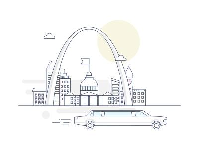 St. Louis clouds sun ride car limousine state city st. louis
