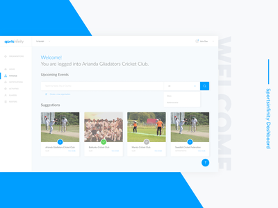 Sportsinfinity Dashboard log in sign up sign in style guide sweden cricket sports