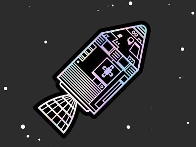 Apollo Holographic Sticker spaceship space apollo 11