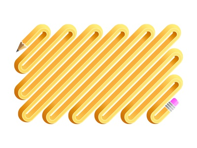 Curvy Pencil curvy curves yellow design vector illustration pencils pencil