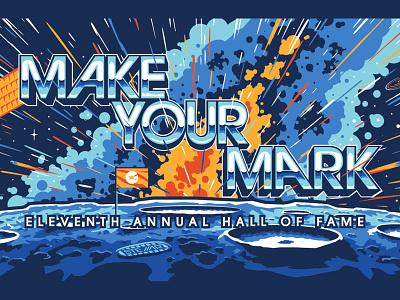 Make Your Mark Mural satellite moon stars stellar art mural design space illustration vector mural