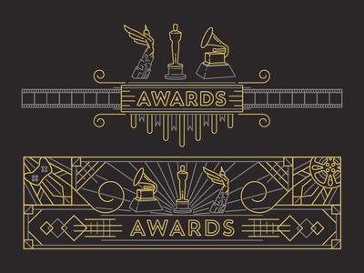 Award Icons line icons oscar awards grammy line flat logos icons icon illustration vector