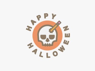 Happy Halloween illustration vector pencil skull halloween badge happy halloween