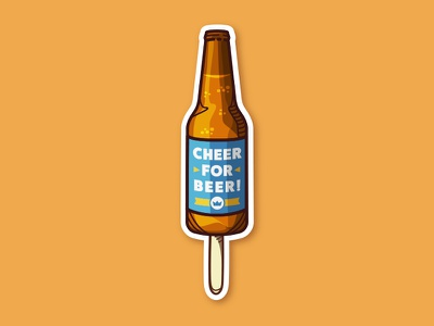 Beer bottle on a Stick! vector sticker illustration beer stick beer bottle beer