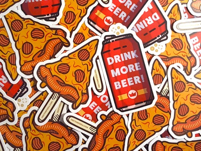 Stickers for Sale illustration vectorpizza sale beer pizza stickers