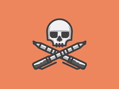 Draw or Die markers skull vector illustration draw or die