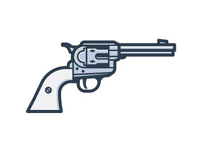 Six Shooter vector icon revolver pistol gun