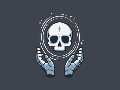 Mystic Skull hands stars magic skull illustration vector