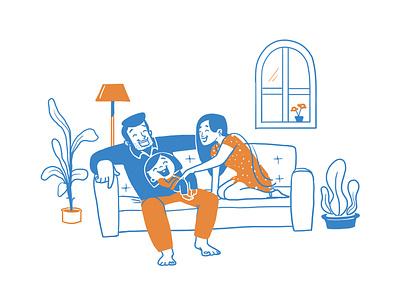 Family character design home illustration family design