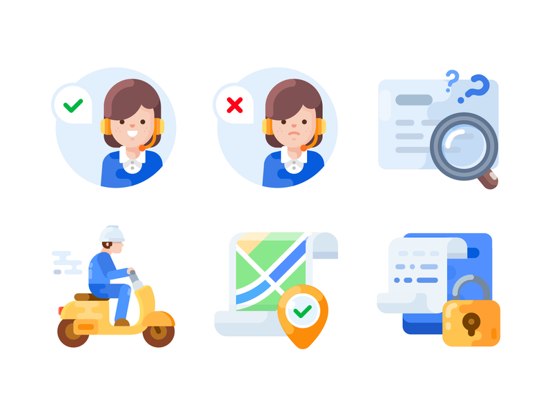 20190520 Icons magnifier worker avatar complete bill lock navigation map vector motorbike search card staff service ui illustration flat minimal