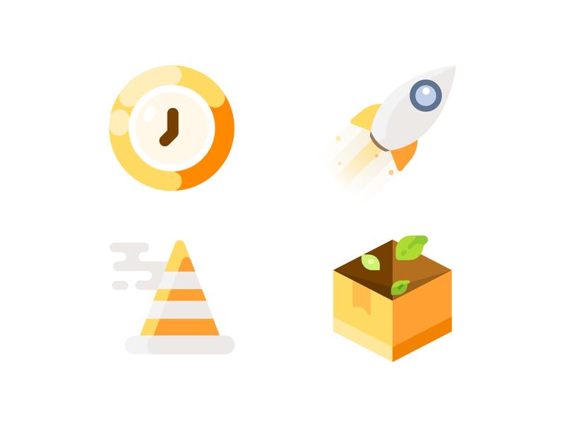 20190527 Icon update icon 404 rocket empty time clock flat ui illustration