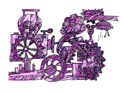 Sketcbook Illustrations - 01 sticker gears mechanical steampunk illustration art illustrations illustration