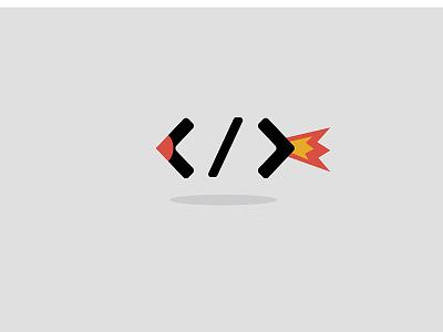 Code Rocket - Minimal Logo Concept fire red coding logo technology logo startup logo tech logo brackets tech coding rocket logo design logo