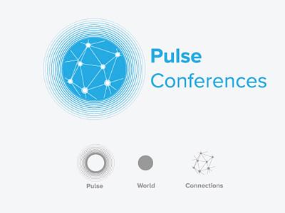 Pulse Conferences - Logo Concept connections waves pulse blue logo design network logo company logo corporate logo corporate logo