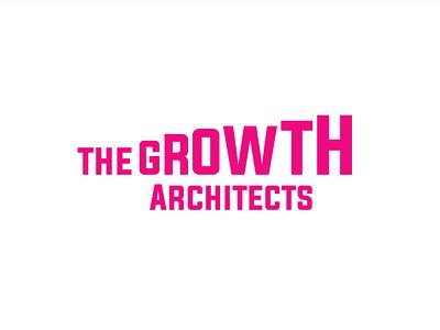 The Growth Architects Typographic Logo typographic logo flat minimal grow geometric pink growth typography type