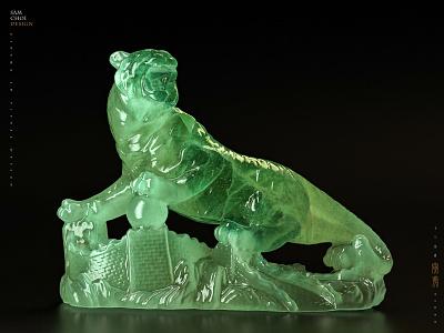 Tiger(Chinese Zodiac) ceramics concept photoshop tiger mascot design 3d c4d samchoi art jade tiger