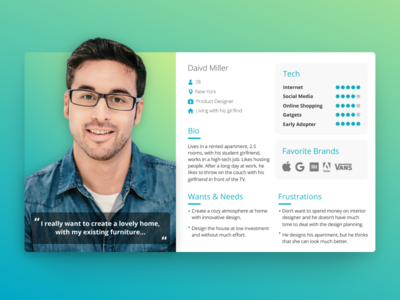 User Persona - UX ar gradient green blue product ux users user ui profile personas persona