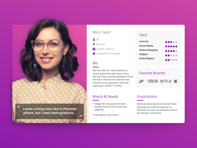 Femme User Persona - UX persona personas profile ui user users ux product purple green gradient ar