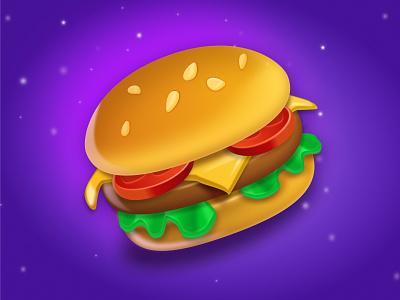 Burger Time 3d art figma art cheeseburger fast food food 2d art burger hamburger