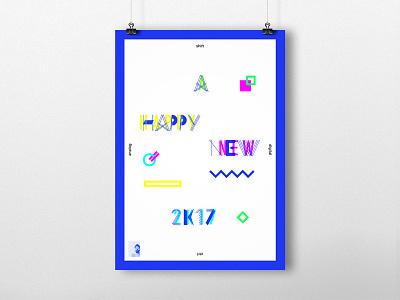 A Happy New Year 2K17 ikblue illustrator poster branding happy