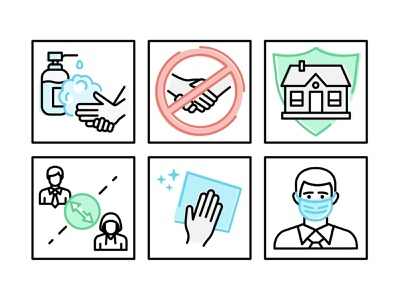 Set of the icons COVID-19 vector illustration icons pack iconset covid-19 covid