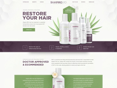 Landing page design for restore hair products hair woman cosmetics e-commerce corporate landing flat webdesign web design ux ui