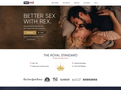 Landing page design for the Rex MD pills medical healthcare health e-commerce corporate landing flat webdesign web design ux ui