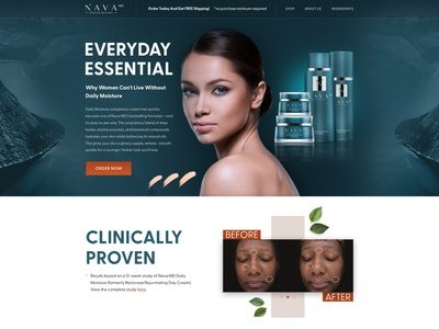 Landing page design for skincare products cosmetic skincare e-commerce corporate landing flat webdesign web design ux ui