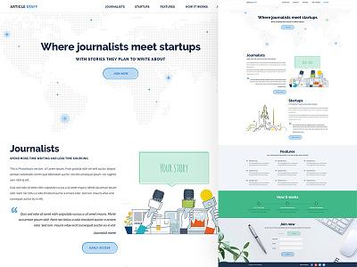 Landing page for startup journalist clean flat web design ux ui landing