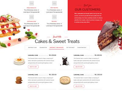 E-commerce concept website for Bakery -menu ux ui site restaurant food flat e-commerce bakery