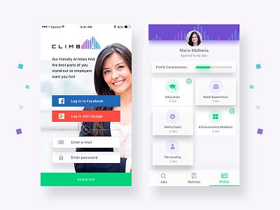 Design app for Climb, the next generation workforce ux design ui sketch