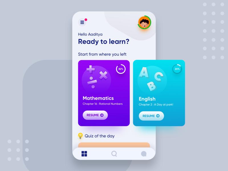 Kids Learning App progressbar profile uxdesign cleanui navigation quiz chapter kidsapp kids ux colorful color ui app interface